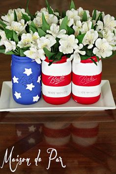 American Flag Mason Jar centerpiece at www.maisondepax.com