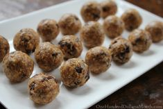 1 cup Quick Oats 1/2 cup ground flax seed {I used Bob's Red Mill brand} 1/2 cup Peanut Butter 1/2 cup Mini Chocolate Chips 1/3 cup Honey 1 teaspoon Pure Vanilla Extract Mix ingredients. Chill in the refrigerator 1 hour to set before eating Makes 36 peanut butter power balls.