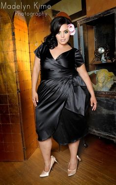 style black satin dress Brand new! From pin up girl clothing. Pin up girl clothing Dresses Wedding Satin Dresses, Plus Size Dresses, Plus Size Outfits, Curvy Fashion, Plus Size Fashion, Girl Fashion, Petite Fashion, Fashion Ideas, 1950s Style