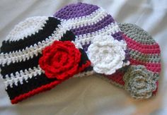 Striped Baby Beanies With Flowers - Crochet creation by CharleeAnn