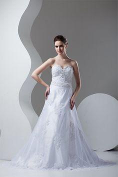 Robe de mariée avec sans manches en dentelle jusqu'au sol ligne a de bustier