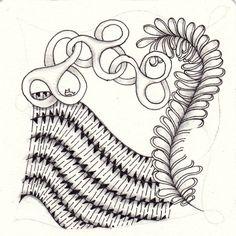 Ein Zentangle aus den Mustern Tchief, Plumes, Shnek-Knot,  gezeichnet von Ela Rieger, CZT