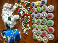 OMG  why didnt i think of this? Foam alphabet stickers + plastic bottle tips = letter stamps