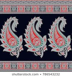 Paisley Indian motif Paisley Stencil, Paisley Art, Paisley Design, Lace Design, Textile Patterns, Textile Prints, Textile Design, Embroidery Works, Embroidery Motifs