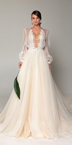 Eva Lendel Wedding Dresses You'll Be Surprised ❤️ eva lendel wedding dresses. Eva Lendel Wedding Dresses You'll Be Surprised ❤️ eva lendel wedding dresses a line with illusion long sleeves deep v neckline ❤️ Elegant Wedding Gowns, White Wedding Dresses, Bridal Dresses, Gothic Wedding, Floral Wedding, Moonlight Couture, Surprise Wedding, Dress Vestidos, Maxi Dresses