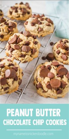 Peanut Butter Chocolate Chip Cookies | Recipe | Dessert | Easy | Chewy | Best mynameissnickerdoodle.com