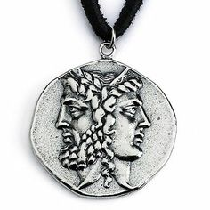 925 Sterling Silver Antique Janiform Head of Zeus Hera Greek Coin Necklace 454 | eBay