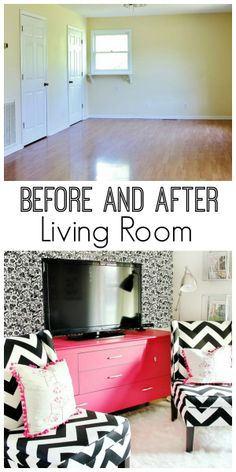 Before and after living room decorating in graphic colors and bold patterns!  Love the pops of color.  thistlewoodfarms.com
