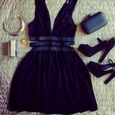 Little BLUE dress...(:  Blue  heels, blue clutch purse...(: