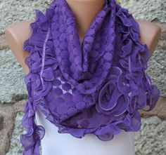 Hey, I found this really awesome Etsy listing at https://www.etsy.com/listing/97117890/on-sale-purple-scarf-cowl-with-lace-edge