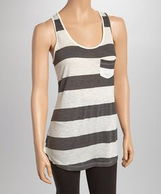 Another great find on #zulily! Charcoal Stripe Penny Pocket Racerback Tank - Women by r.bryant #zulilyfinds