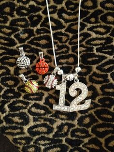 Personalized Rhinestone Sports Jersey TWO Number Necklace Softball Charm Softball MOM/Player by CocomoSoulBoutique, $20.99