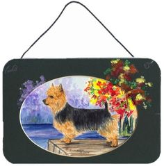 Australian Terrier Indoor Aluminium Metal Wall or Door Hanging Prints, Multi