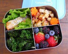 Salmon and Kale Quad Bento by sherimiya ♥, via Flickr