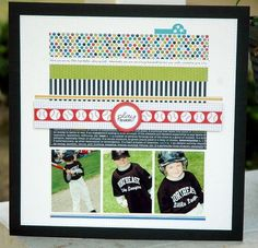 """Play Hard"" by Sarah Klemish (bella blvd) Baseball Scrapbook, Baby Scrapbook, Scrapbook Pages, Baseball Pictures, Soccer Pics, Making The Team, Play Hard, Scrapbooking Layouts, Mini Albums"
