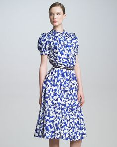 Pretty, tailored and simply perfect. Print Shirtdress by Carolina Herrera.