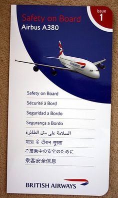 British Airways A380 Safety Card