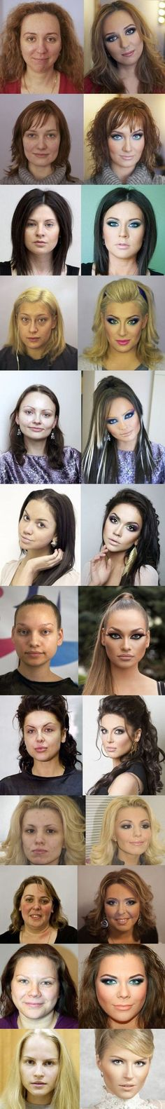 Russian Make Up - Before and After ... Amazing! So don't be discouraged if you don't look like the second pictures, these people don't look like them either.