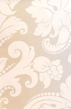 Villiers Damask Wallpaper Damask wallpaper in white  printed on white gold shiny background