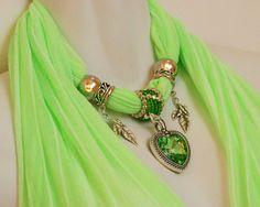 Green Pendant Scarves Bright Scarves Scarf by RavensNestScarfJewel, $24.00