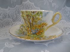 Shelley China Tea Cup and Saucer Daffodil Time