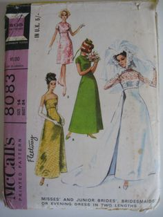Vintage 1960s Sewing Pattern-Wedding Gown & Bridesmaids/Evening Dress -Size 14 | eBay