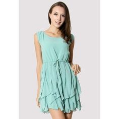 Flouncing Sleeveless Chiffon Dress