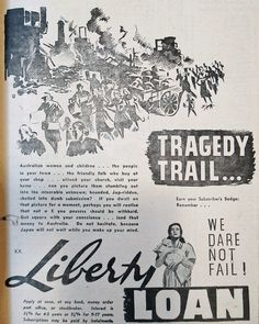 Tragedy Trial... We Dare Not Fail! March 1942 advertisement encouraging people to lend money to the government and thereby help support the war effort.