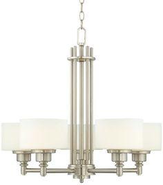 Opal Glass Brushed Steel Possini Euro Foyer Chandelier - Euro Style Lighting