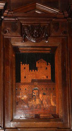 Fra Damiano Zambelli - Castello di Malpaga -tarsie del coro - 1510-20 circa - Chiesa dei Santi Bartolomeo e Stefano - Bergamo (Italia)
