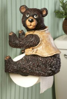 Cool and unique toilet tissue paper roll holders ideas 12 - Black Toilet Paper, Black Bear Decor, Tissue Paper Roll, Paper Roll Holders, Collections Etc, Wood Carving, Rustic Decor, Cabin, Cool Stuff