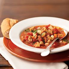 Smoky Seitan, Pinto Bean, and Hominy Stew Recipe Soups, Main Dishes with canola oil, white onion, diced celery, carrots, green bell pepper, minced garlic, organic vegetable broth, chili powder, salt, chipotle chile powder, diced tomatoes, seitan, white hominy, pinto beans