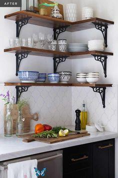 Kitchen Corner, Kitchen Shelves, Kitchen Layout, Kitchen Backsplash, New Kitchen, Kitchen Storage, Kitchen Cabinets, Kitchen Modern, Open Shelves