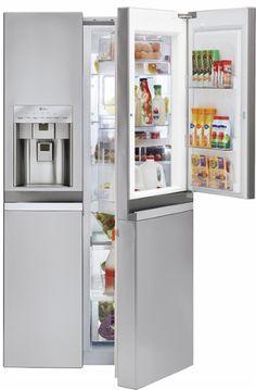 LG - Door-in-Door 21.6 Cu. Ft. Counter-Depth Side-by-Side Refrigerator with Thru-the-Door Ice and Water - Stainless Steel - Angle Zoom