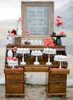 Santa Ynez Mountain Wedding by Michael & Anna Costa Photographers Ltd. + Joy de Vivre + NLC Productions : dessert table on old roll top desk, love how the drawers are pulled out to display cake stands Wedding Cake Stands, Unique Wedding Cakes, Wedding Cupcakes, Wedding Desserts, Unique Weddings, Unique Cakes, Wedding Ideas, Wedding Vintage, Indian Weddings