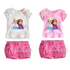 Free Shipping 2014 New Baby Wear Girls Frozen Clothing Set Childrens Anna Elsas Suits Printed T