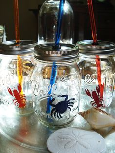 Lobster Crab Mason Ball Jars Beach Party by bittersweetlemonade, $42.00