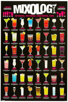 Mixology (Cocktail Recipe Chart) Art Poster Print - 24x36 Humor Poster Print, 24x36