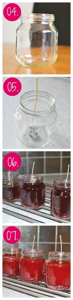 upcycle baby jars into candles steps 4 to 7