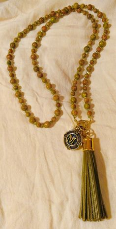 """Long Pink Jasper Leather Tassel Necklace with Initial Charm """"M"""""""