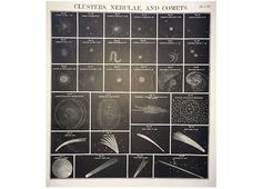 1856 NEBULA & COMETS lithograph - RARE - original antique print - celestial astronomy - large format lithograph