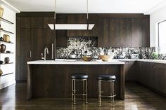 """#Decorist Design team is totally crushing over the backsplash! """"We gained initial inspiration for the darker hues in the palette from the client's Richard Serra charcoal prints and the charred wood from the home's historic fire,"""" says..."""