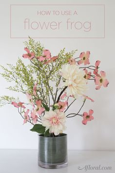 Learn how to create a modern flower arrangement with a floral frog and artificial flowers.