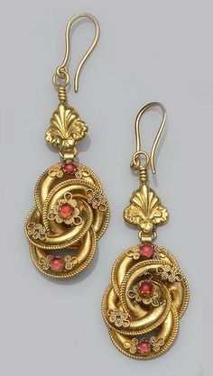 Victorian earrings comprising of a pair of knot design earrings with applied wire decoration and cabochon paste stones by tamara Victorian Jewelry, Antique Jewelry, Gold Jewelry, Vintage Jewelry, Fine Jewelry, Craft Jewelry, Tiffany Jewelry, Jewlery, Ethnic Jewelry