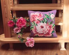 Collection d'Art:5.042 - Rose Chou - Easy to stitch large count cross stitch cushion kit - On Sale Now - 40% Discount - Original Retail Price $40.00