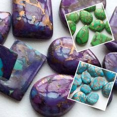 Latest on gemsforjewels - Copper Turquoise Flat Back Cabochons - Mix Shapes Lot - Beautiful hues of Purple, Green and Turquoise - Always in style and trend - These never go out of trend!! Try these in your creativity and you will surely love them!!