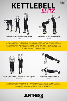 Kettlebell Blitz workouts are workouts with just 4 exercises. Two circuits per exercise. Each circuit is 10 minutes long. Rest 3 minutes between circuits. Kettlebell Clean, Full Body Kettlebell Workout, Hiit Workouts For Men, Full Body Workout At Home, Kettlebell Training, Kettlebell Swings, Dumbbell Workout, At Home Workouts, Circuit Workouts