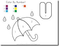 U is for Umbrella theme - great activity for counting/color recognition/fine motor skills