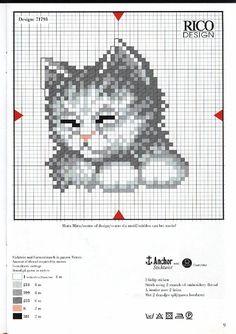 volto di gatto color grigio schema punto croce piccolo - magiedifilo.it punto croce uncinetto schemi gratis hobby creativi