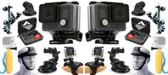 2X GoPro HERO Action Camcorder Camera  Case  Head Strap  Car Dash Mount  Tri